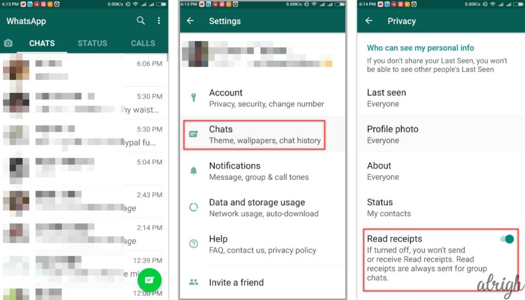 How To Hide Blue Ticks Read Receipts in WhatsApp