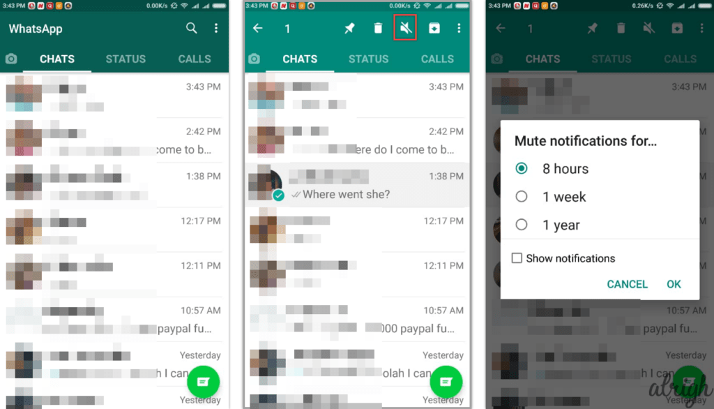 How to Mute a Whatsapp Group or User