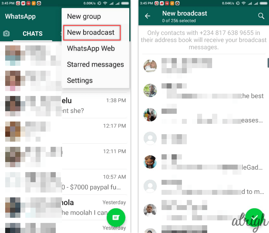 How to broadcast a WhatsApp message