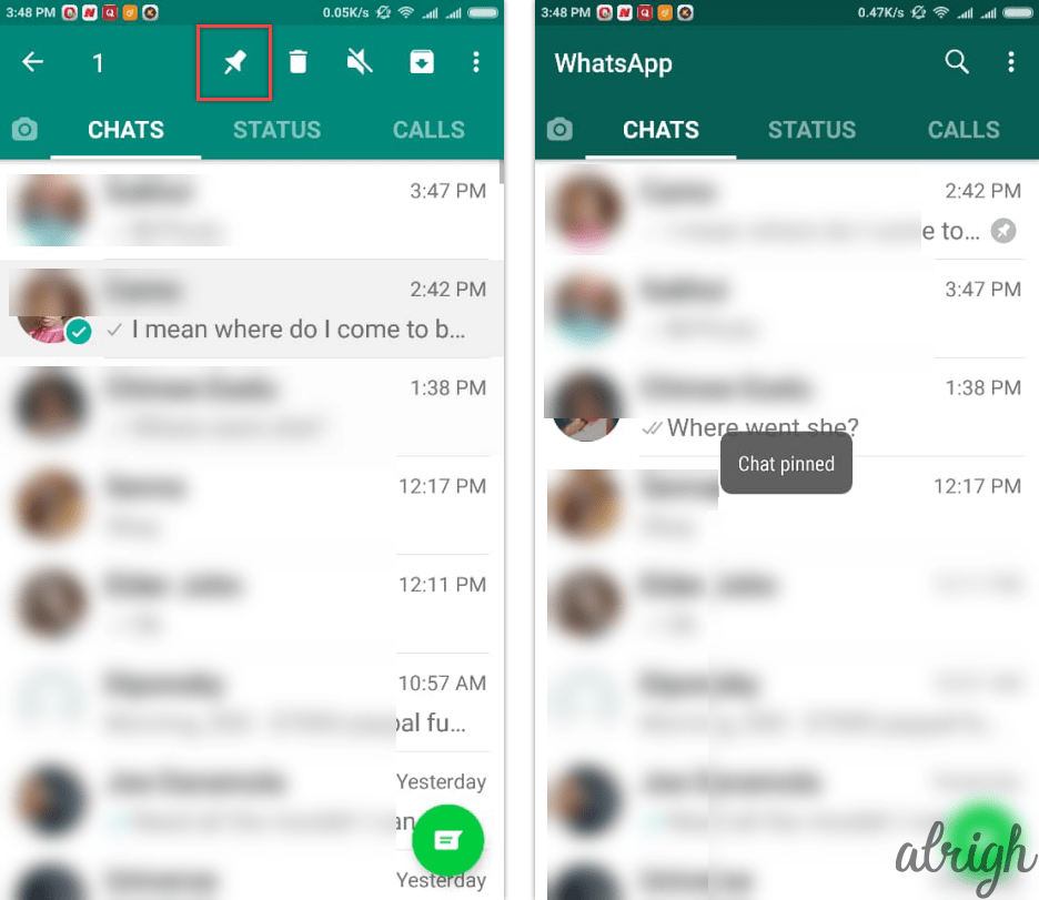 See a WhatsApp Chat on Top or Pin It
