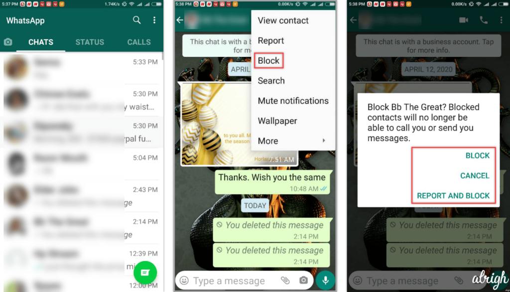 Block a WhatsApp Contact