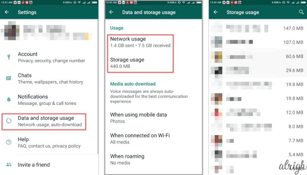 how to check WhatsApp data storage usage