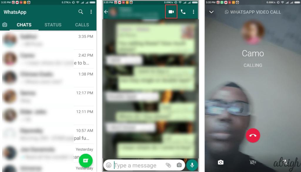 how to make a video call using whatsapp