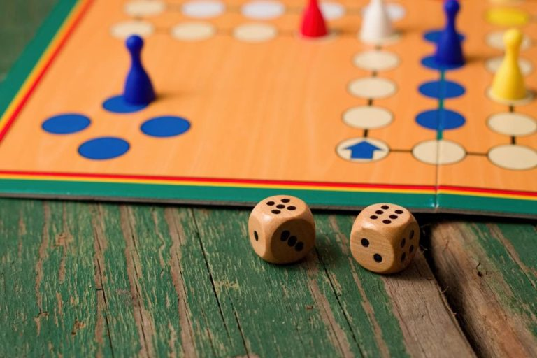 ludo with wooden dices