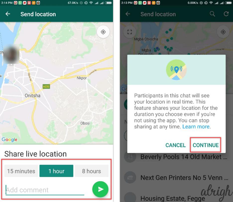 share live location using whatsapp