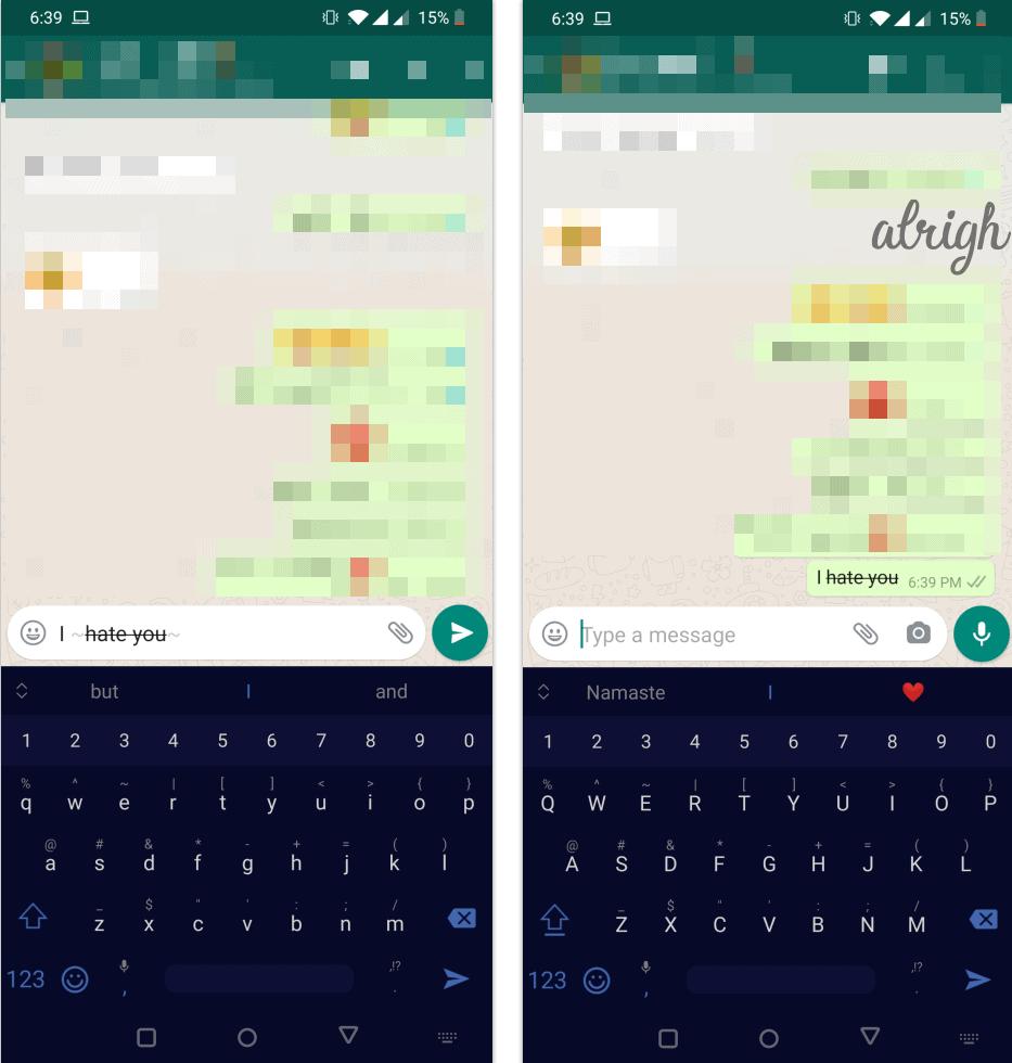 strike through text in WhatsApp