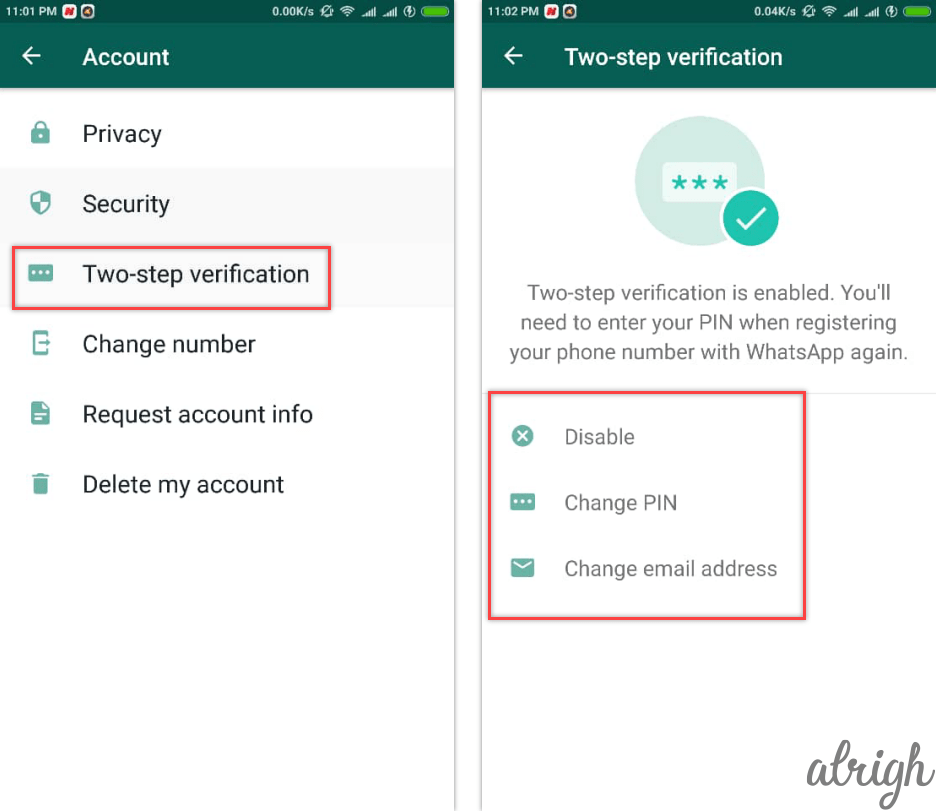whatsapp two factor authentication 2fa