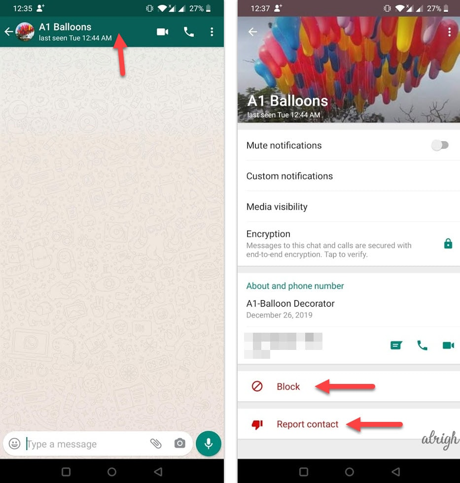 Block and report WhatsApp contacts