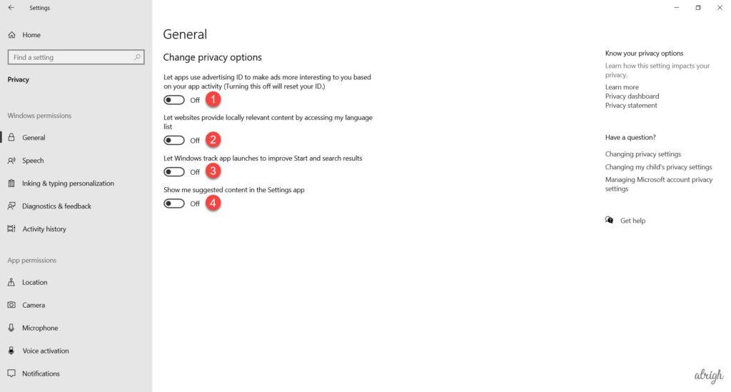 Change Windows 10 privacy settings