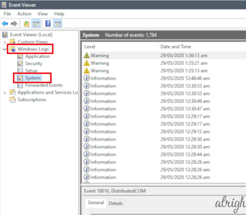 Check Event viewer for error logs