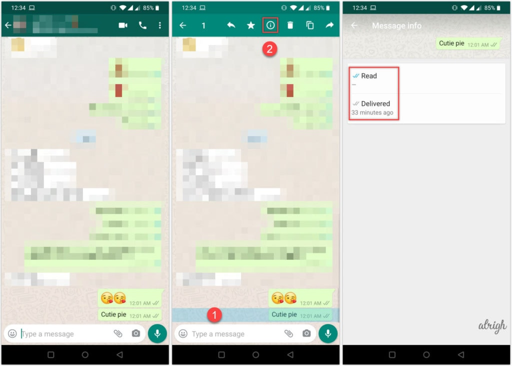 Check message info on WhatsApp for Android