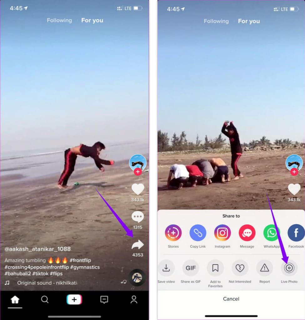 Downloading Tik Tok Video as Live Photo on iPhone iOS