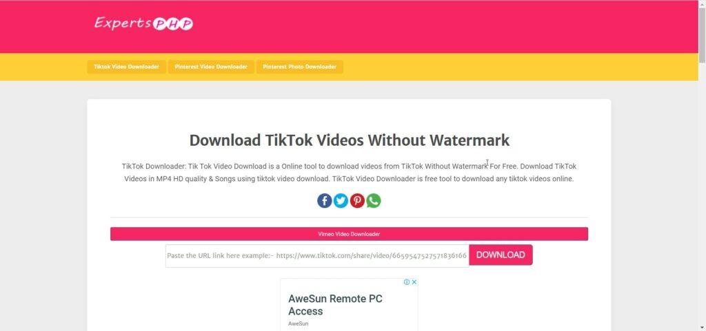 ExpertsPHP TikTok Video Downloader