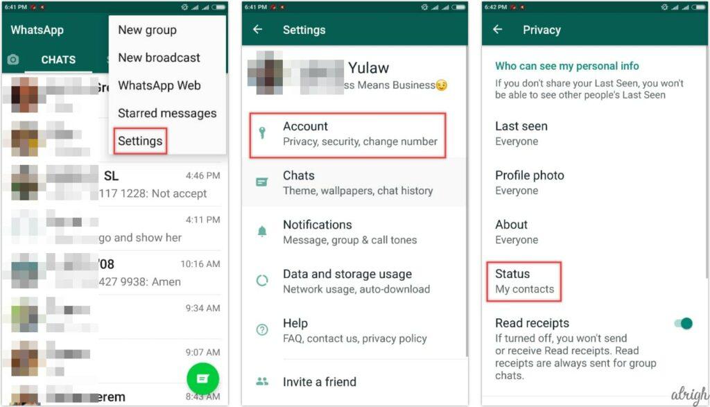 How to hide WhatsApp status update