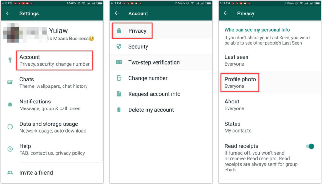 How to hide profile photo on WhatsApp