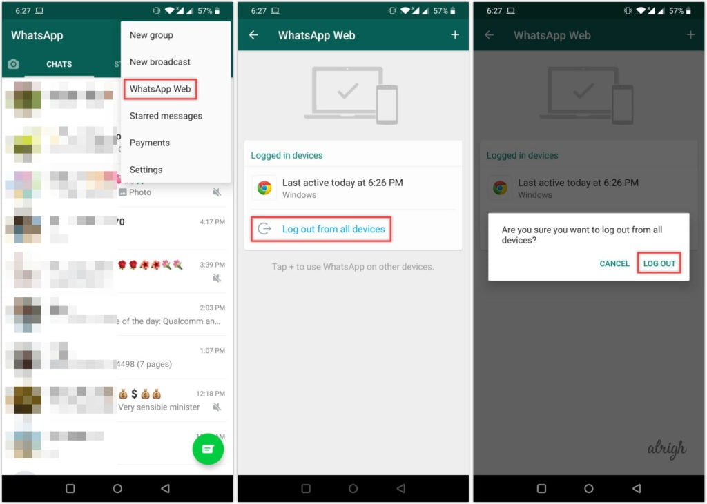 How to logout from WhatsApp Web on Android