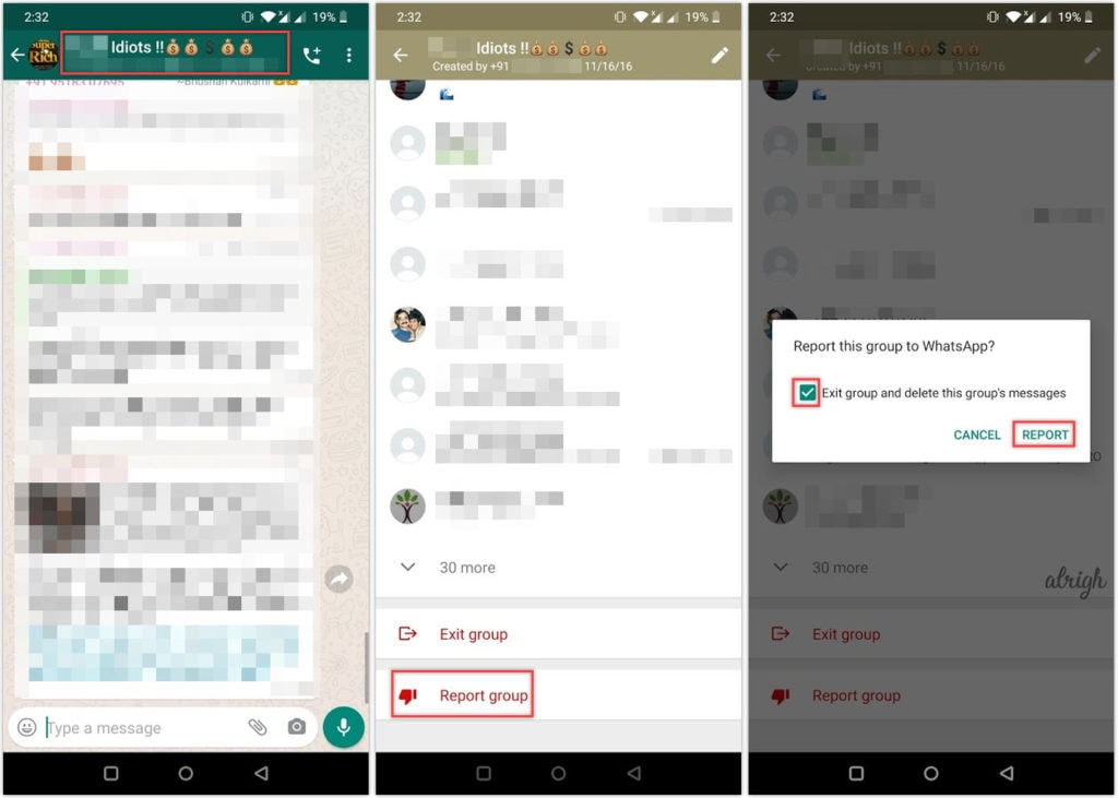 How to report a WhatsApp group