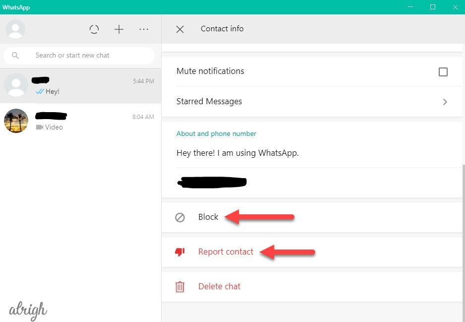 Report spam on WhatsApp Web