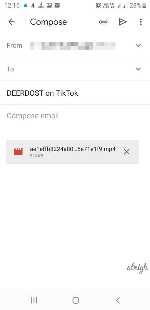 Send TikTok Video to Email