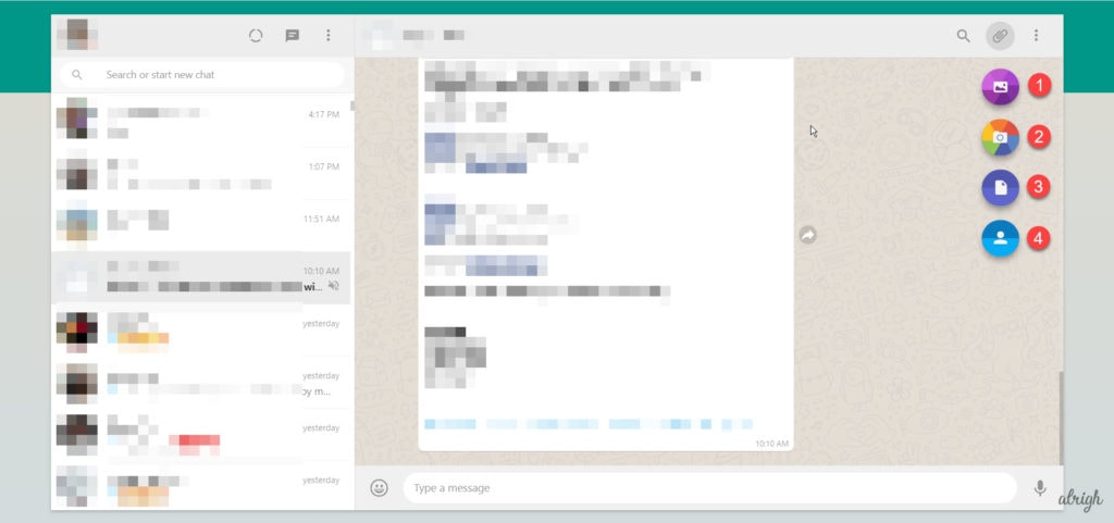 Send photos files or contacts using WhatsApp Web