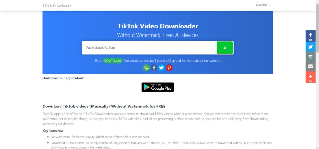 SnapTik TikTok Video Downloader