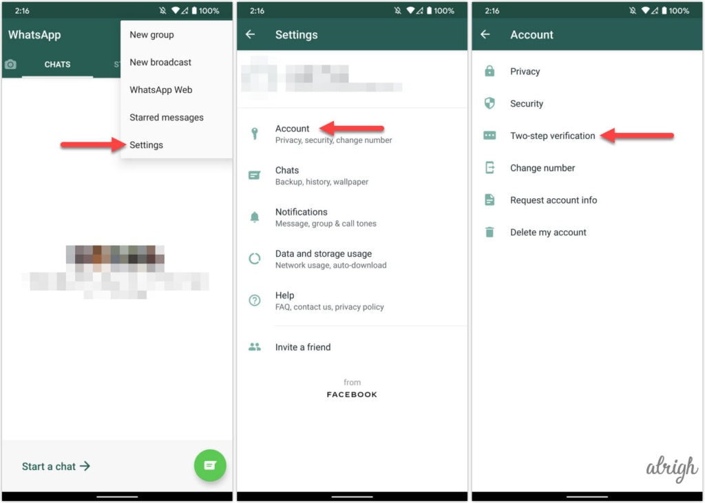 Turn off two factor authentication in WhatsApp Android
