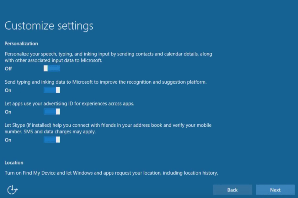 Windows 10 express settings customization for privacy