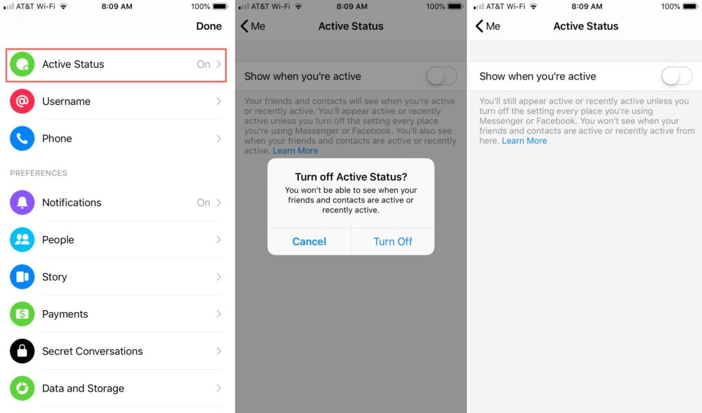 Disable active status on Facebook Messenger for iOS