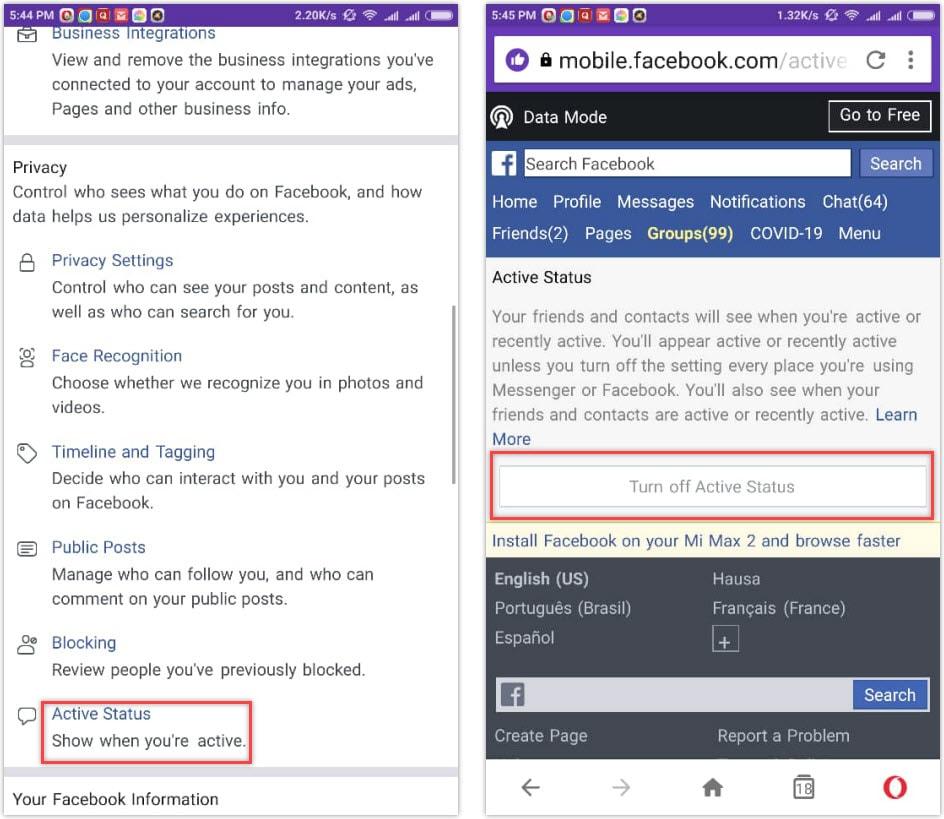 Disable Facebook active status