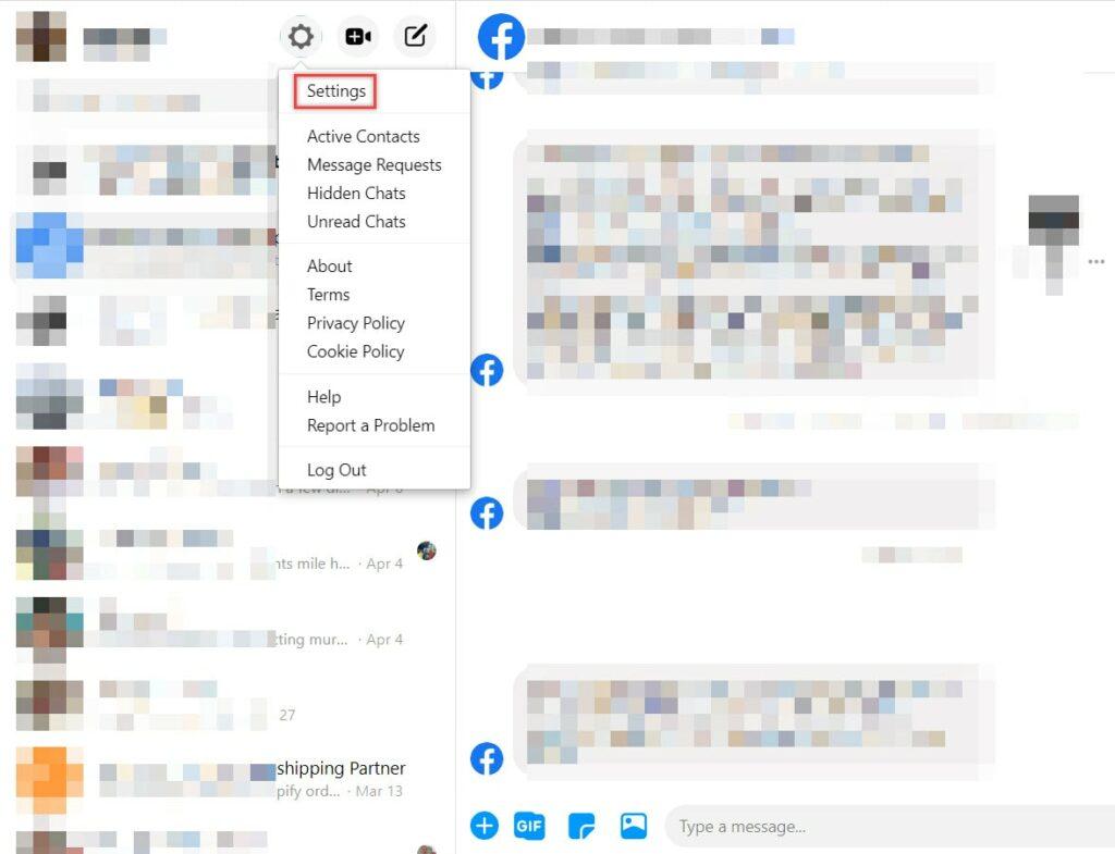 Hide Facebook last active status from messenger portal.