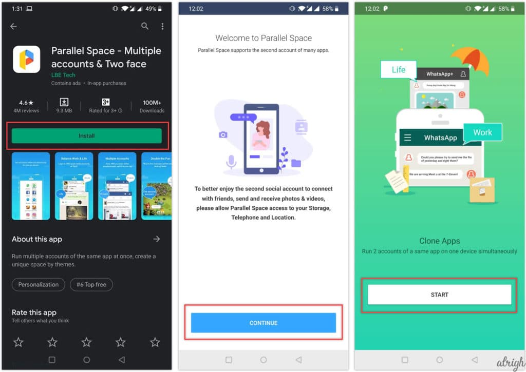 Use two WhatsApp in one phone on android with Parallel Space