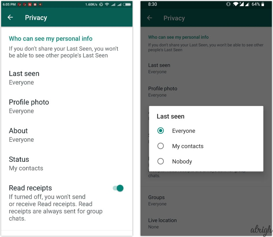 Hide WhatsApp last seen on android