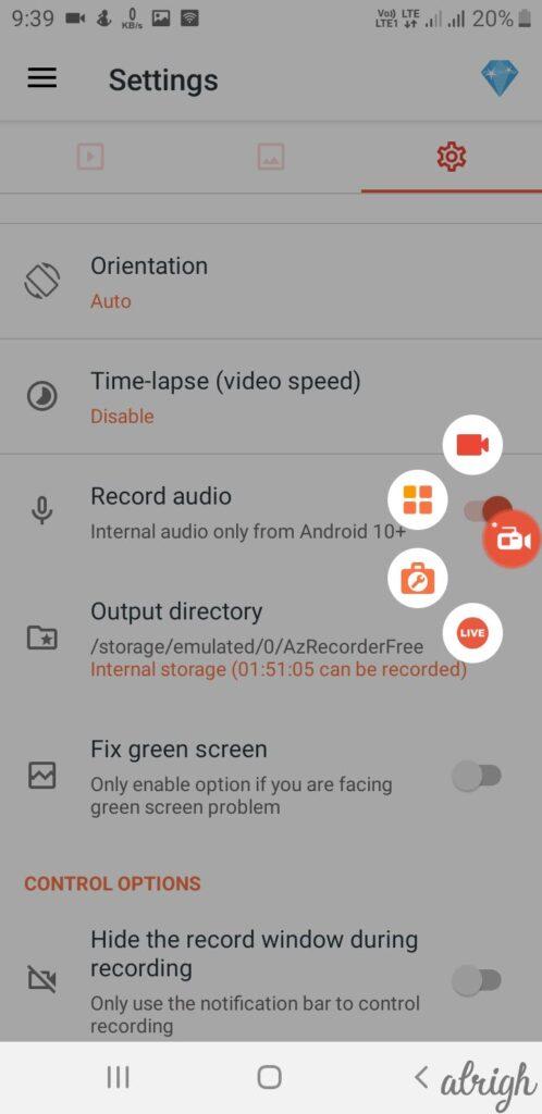 AZ Screen Recorder Step 2