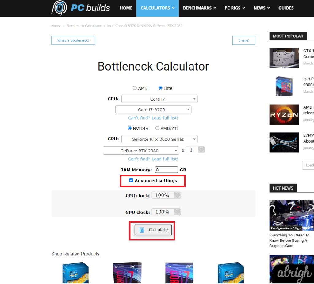 Bottleneck Calculator 2