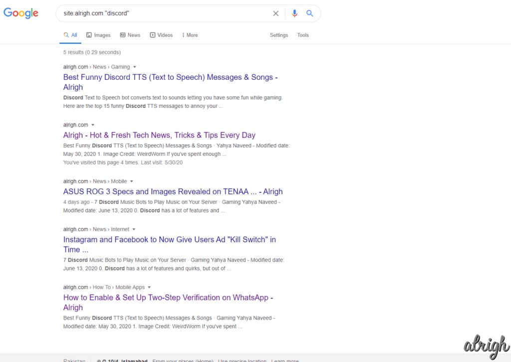Google Search specific website