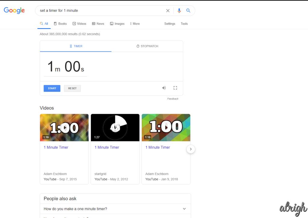 Google Set a Timer Trick