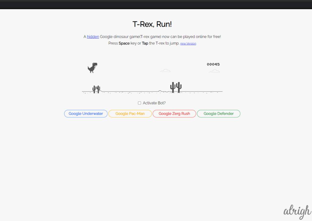 Google T Rex Game
