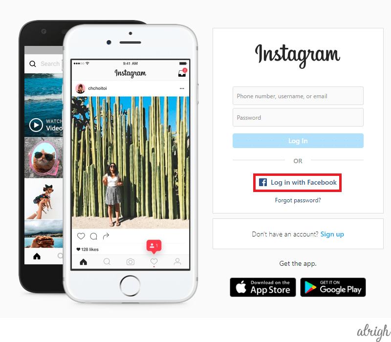 How Do I Log in to My Instagram Account with My Facebook Account browser 1