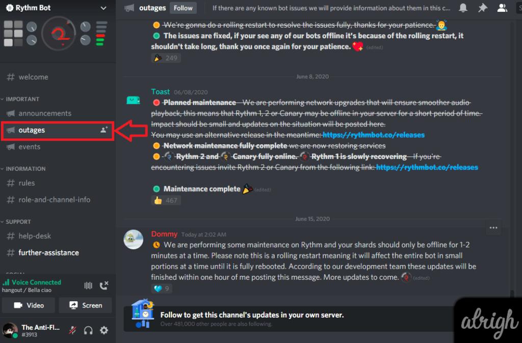 How to Check Rythm Bot's Status