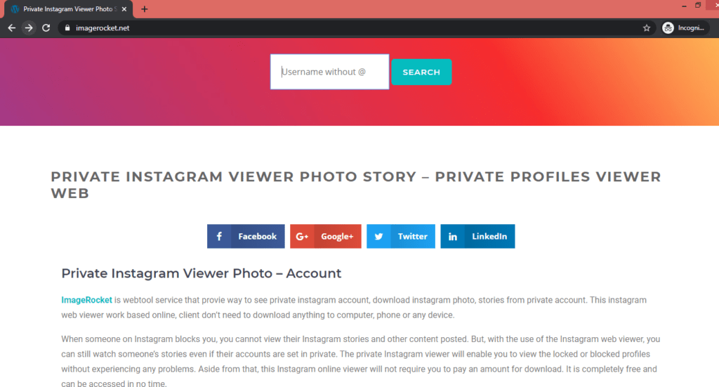 Image Rocket Private Instagram Viewer 1