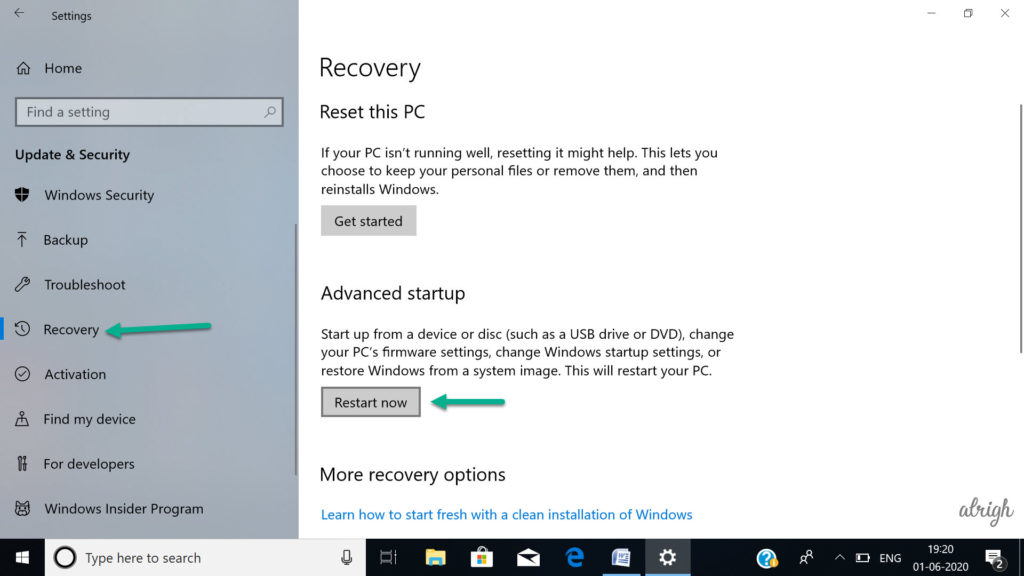 Go to Recovery & Click on Restart Now