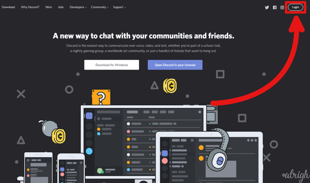 Log in to Discord from your browser