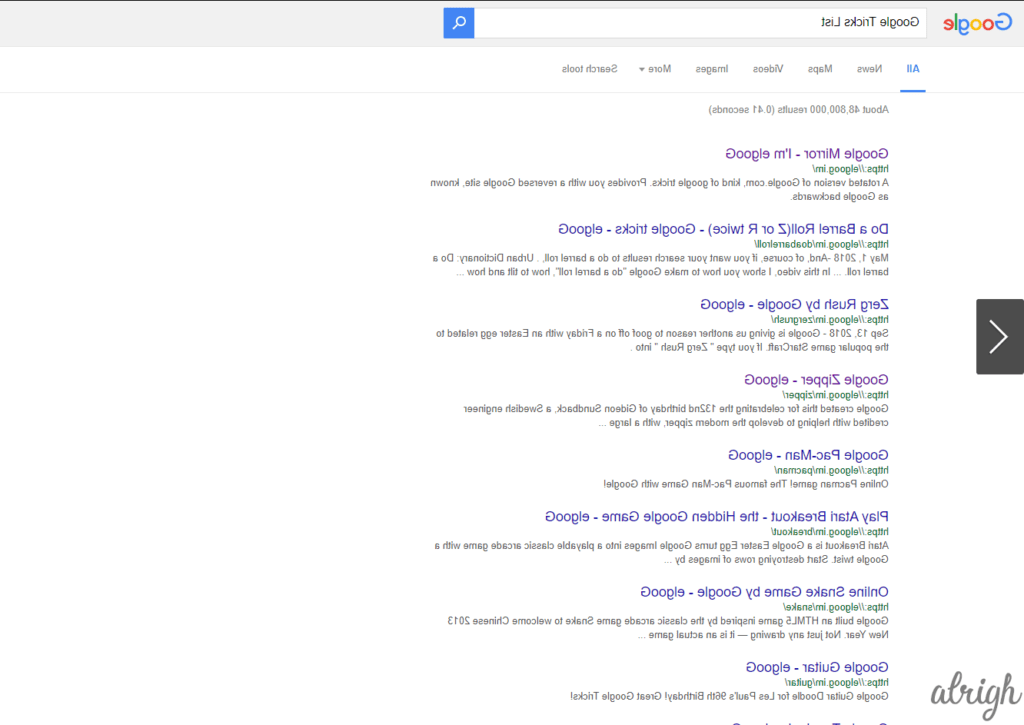 Mirrored Google Trick