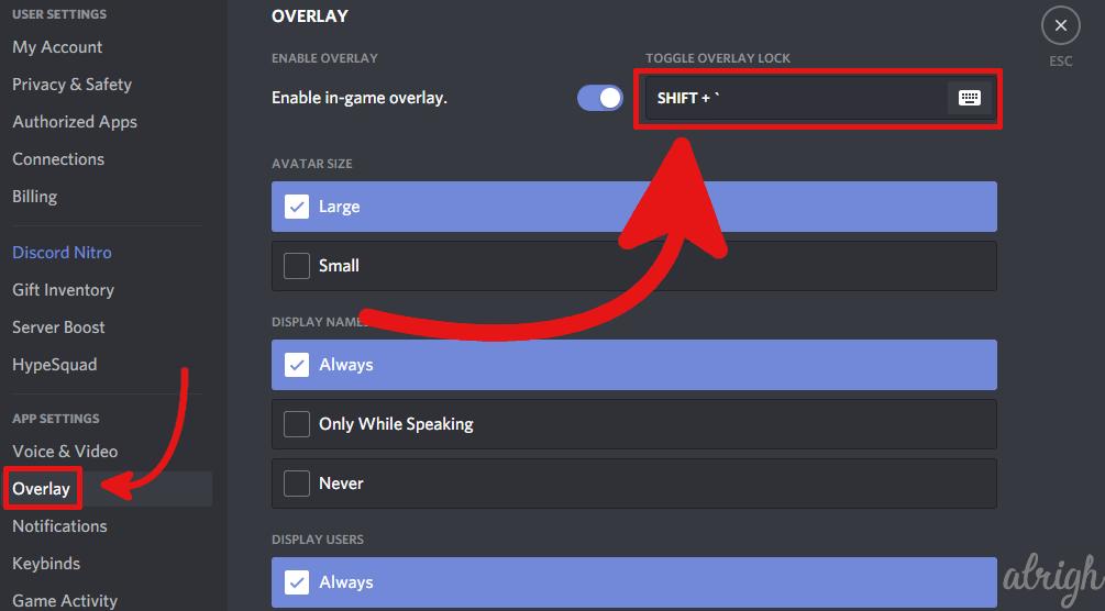 change the discord overlay hotkey 2