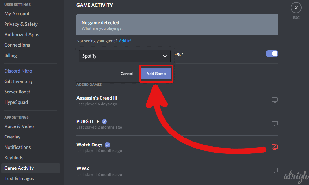 check if discord can see your game activity 3