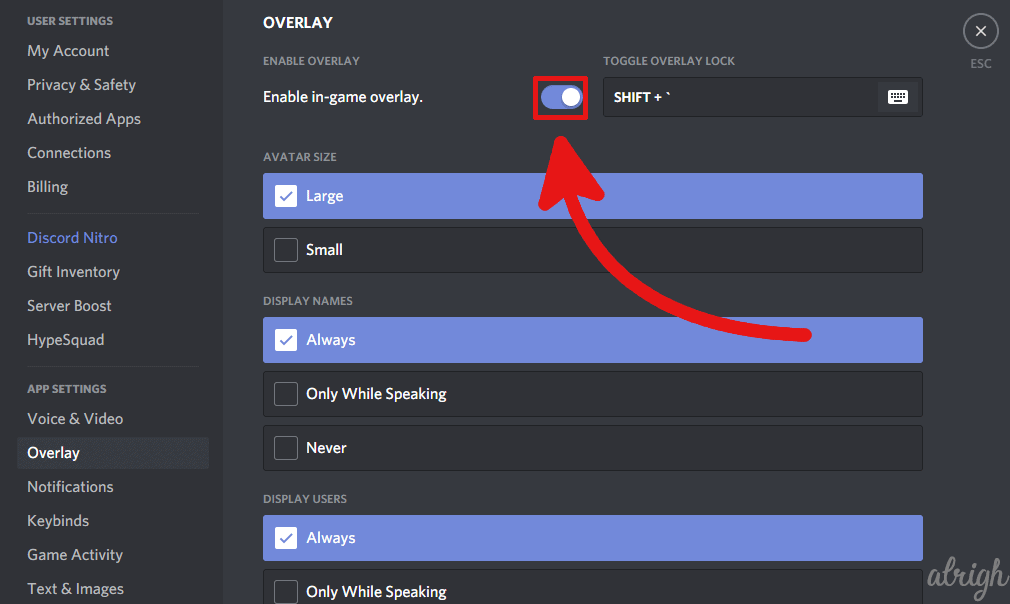 enable the Discord in game overlay 2