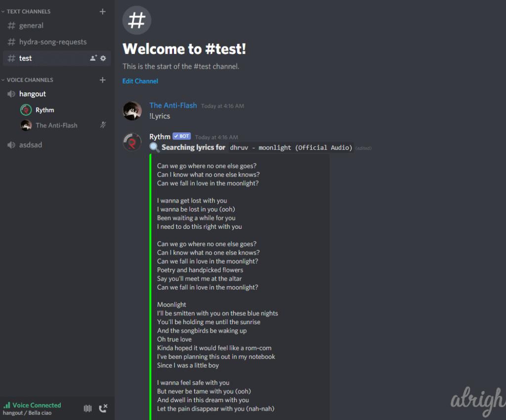 !lyrics Command for Rythm Bot 1