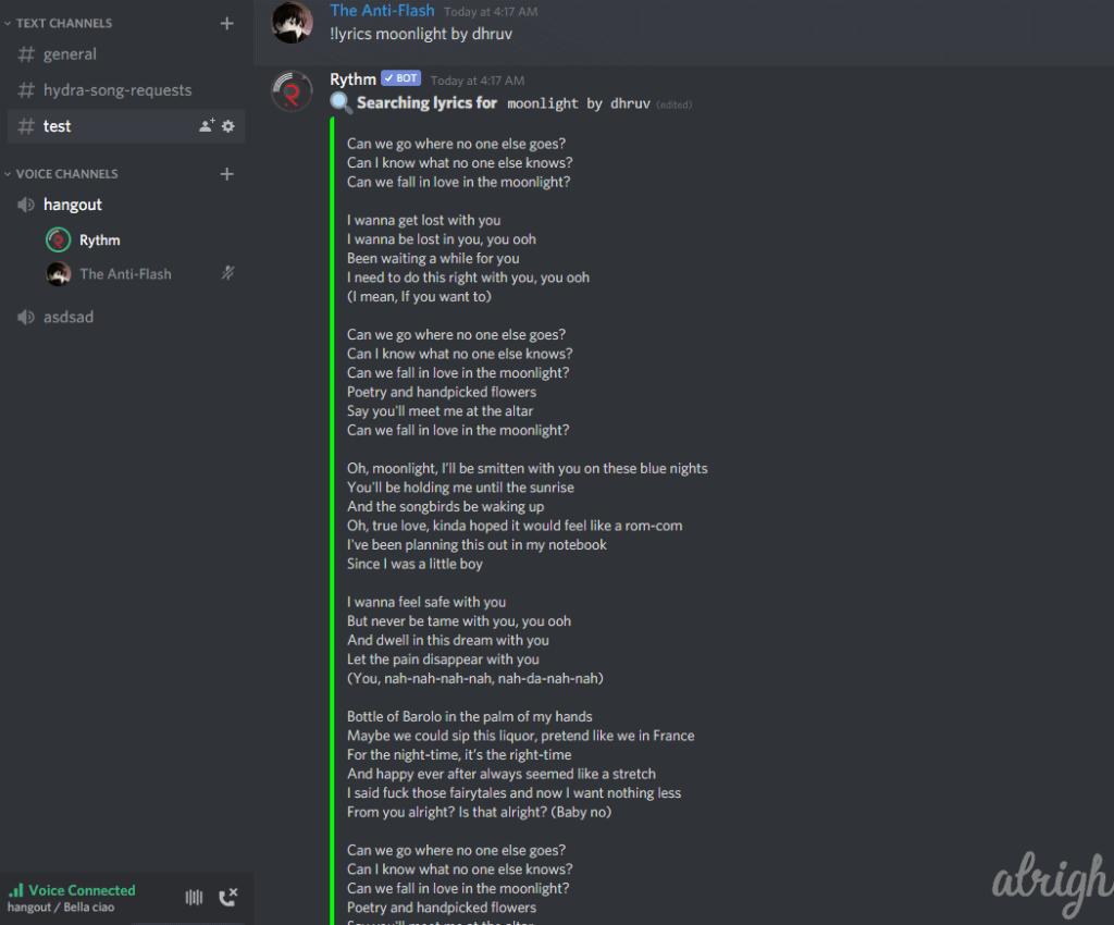 !lyrics Command for Rythm Bot 2