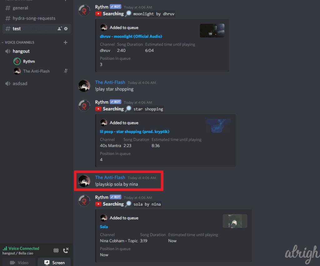 !playskip Command for Rythm Bot