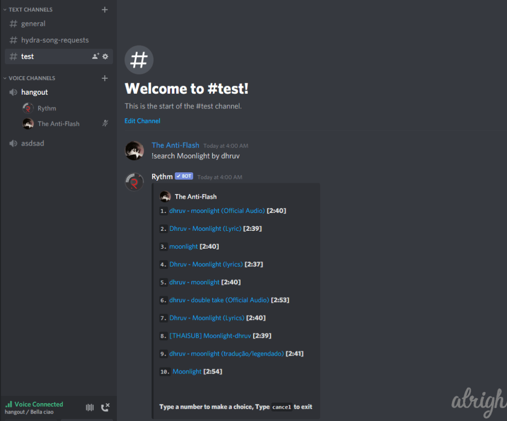 !search Command for Rythm Bot